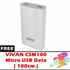 ROBOT RT-7100 Power Bank Dual Output Fast Charging [6600mAh] ORIGINAL + Free VIVAN CSM100 Micro USB