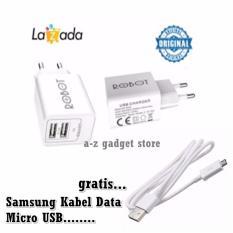 Robot Rt C04S Dual Usb Ports Charger Adapter Putih Free Samsung Kabel Data Micro Usb Putih Murah