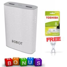 Robot RT7100 6600mAh 2 USB Ports Power Bank 100% Original + Toshiba Flashdisk 8GB