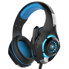 robxug GM-1 3.5mm Gaming Headset LED Light Over-Ear Headphones With Volume Control Microphone For PC Xbox One Laptop Tablet PlayStation 4 (Blue+Black) - intl