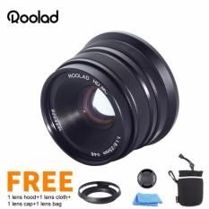 Roolad 25 Mm F/1.8 Bukaan Apertur Manual Fokus Lensa untuk Olympus M43 Panasonic Xiaoyi Digital Mirrorless Kamera EM EP PL GX Hitam Perak-Internasional