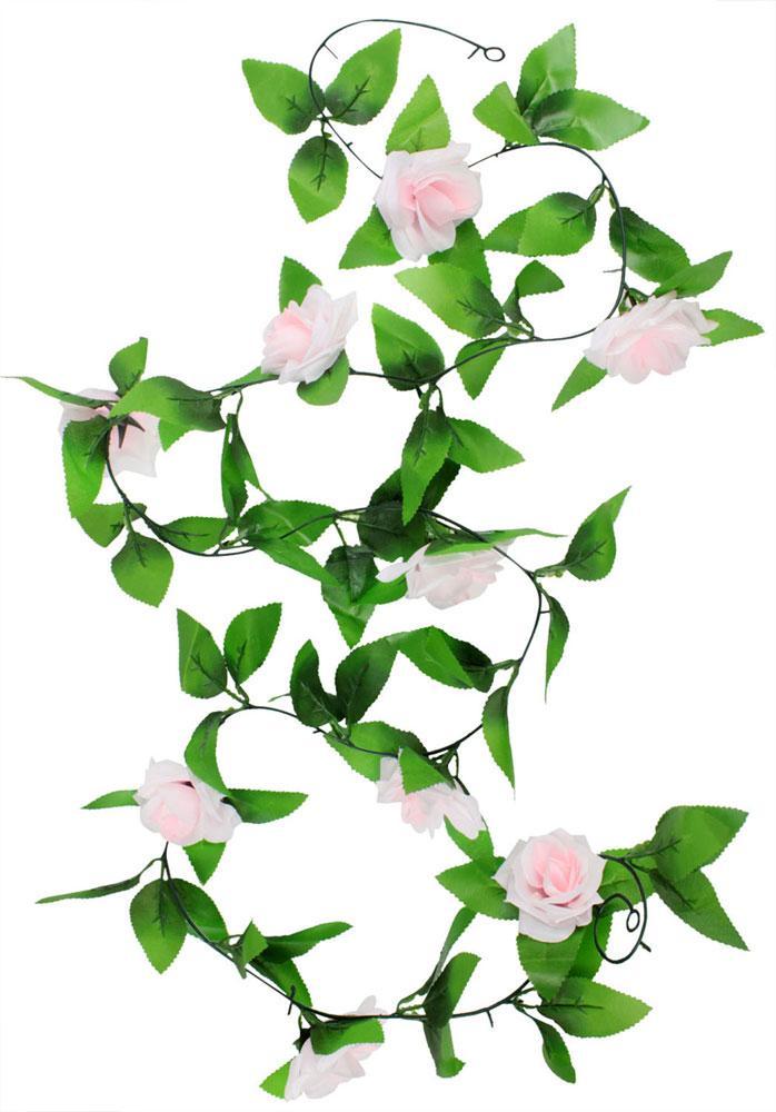 Roortour Gantung Buatan Vine Sutra Bunga Mawar Dekorasi, Pink Cerah