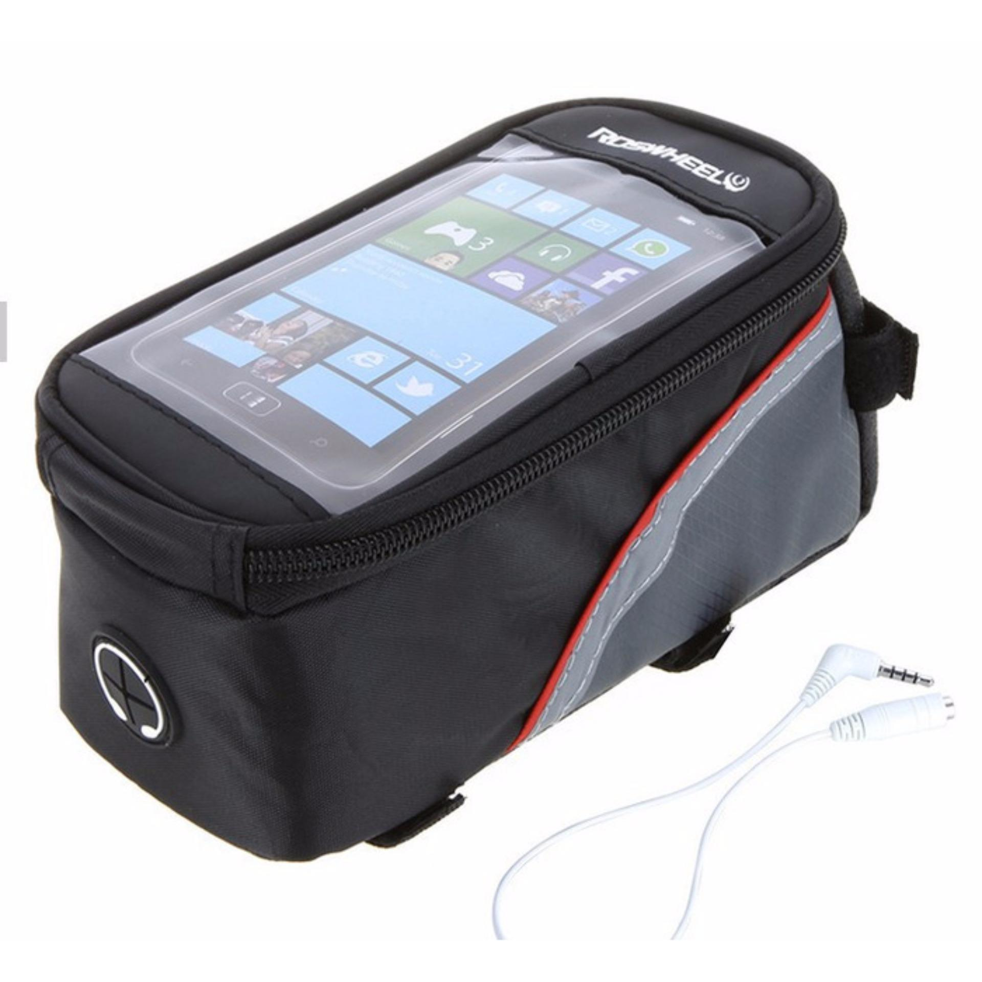 Roshweel Classic Series Bike Waterproof Bag 5.5 inch Smartphone Tas Sepeda Frame Hp Anti Air TouchScreen