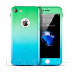 Roybens 360 Degree Full Body Protect Gradient Warna Hard Slim Case dengan Tempered Glass untuk IPhone