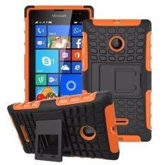 RUILEAN Case Cover untuk Microsoft Lumia 435 Tough Rugged Dual-Layer Case dengan Built-In Kickstand Orange