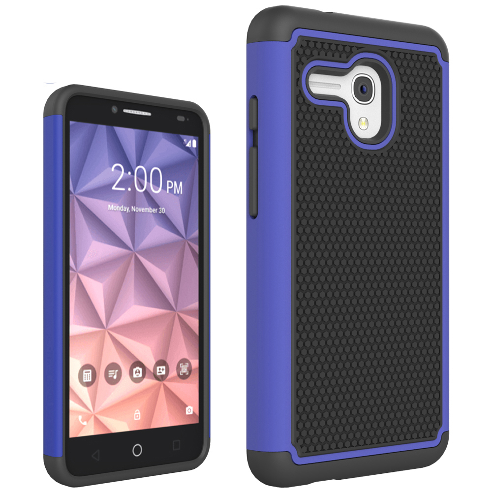 RUILEAN Hybrid TPU +PC Shock-Absorbing Anti-Slip Dual Layer Protective Case for Alcatel OneTouch Fierce XL (Blue)