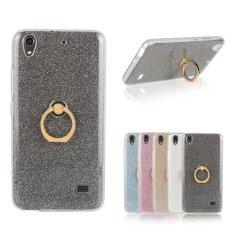 RUILEAN TPU Case untuk Huawei Honor 4 Play Fleksibel Soft Gel Cover Mengkilap Kembali dengan Cincin Grip/Stand Holder Hitam