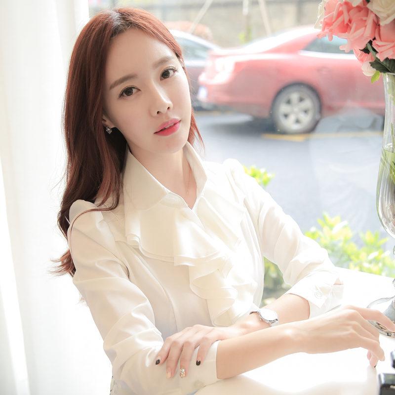 Harga Rumah Korea Sifon Renda Perempuan Kemeja Putih Kemeja Putih Putih Kerah Baju Wanita Baju Atasan Kemeja Wanita Baru