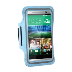 Lari Olahraga Gym Ban Lengan Penutup Case Pouch Holder untuk HTC OneM7/M8 (Biru)-Intl