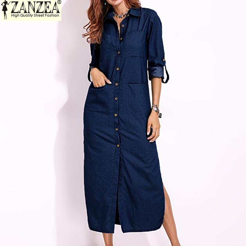 Situs Review S 5Xl Zanzea Wanita Lengan Panjang Tombol Down Shirt Dress Denim Biru Terbelah Asimetris Gaun Panjang Ukuran Better Biru Tua