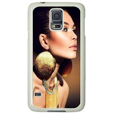 S5 Case, Galaxy S5 Case, Samsung Galaxy S5 Case - Protective Case Fashion Make Up Big Earings Ideas Hard PC White Cover Heavy Duty Protection Shock-Absorption / Impact Resistant Slim Case for Galaxy S5 / Galaxy SV / Galaxy S V / Galaxy i9600 - intl