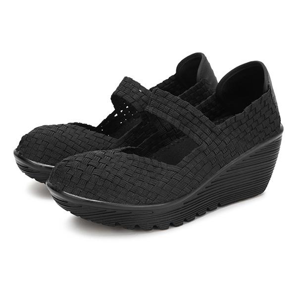 Pusat Jual Beli Sabuk Elastis Anyaman Ayunan Sepatu Olahraga Wanita Sandal Sepatu Hitam Hong Kong Sar Tiongkok