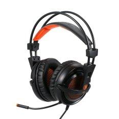 SADES A6 headphone With Mikrofon Game USB Stereo Gaming Headset Di Telinga And Profesional With Memimpin Kebisingan Pembatalan And Menakjubkan Efek Suara Musik With earphone Hitam With Jeruk For Desktop Laptop Notebook