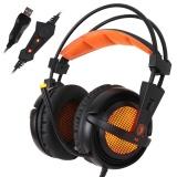 Promo Sades A6 Gaming Headphone Dengan Mic Usb Profesional Over Ear Stereo Gaming Headset Dengan Kebisingan Led Pembatalan Suara Indah Efek Musik Earphone Hitam Dengan Orange Untuk Desktop Notebook Laptop Intl Murah