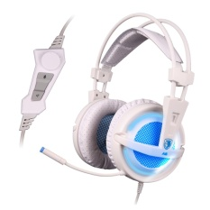 SADES A6 USB PC Gaming Headset 7.1 Surround Sound Stereo Gaming Headphone-putih-Intl