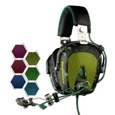 SADES A90 Headset Permainan USB 7.1 Channel Berkabel Headphone dengan Kawat Pengendali + Mikrofon + Warna Mengubah Pernafasan Ringan untuk buah, LAPTOP (Hitam + Hijau Tentara)-Internasional