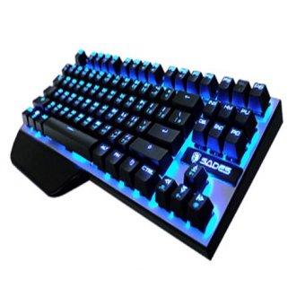 Sades Keyboard Gaming Mechanical Karambit LED Blue - Hitam-Silver