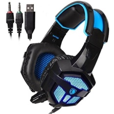Sades SA738 Gaming Headset USB 3.5mm Jack Stereo Headphone with Microphone for PC Laptops Mobile Phone MP3 MP4(Blackblue) - intl