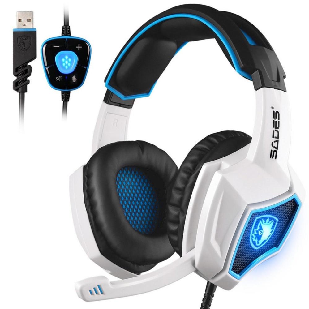 SADES Spirit Wolf 7.1 Surround Stereo Sound USB Komputer Gaming Headset dengan Mikrofon Over-the-Ear Noise Mengisolasi Breathing LED Light untuk Pemain Game PC-Internasional