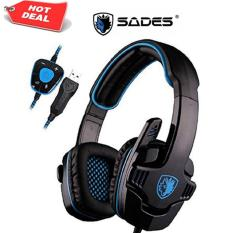 Sades Wolfang SA-901 Original Headset Gaming High Quality Bass with Sound Card - Hitam USB 2.0 Headphone with Microphone .