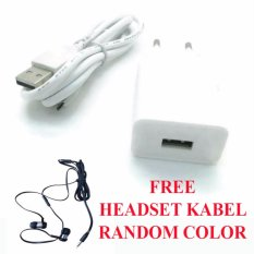 Safe Charger Plus Kabel Data USB for OPPO R7S + Free Headset Kabel - Putih
