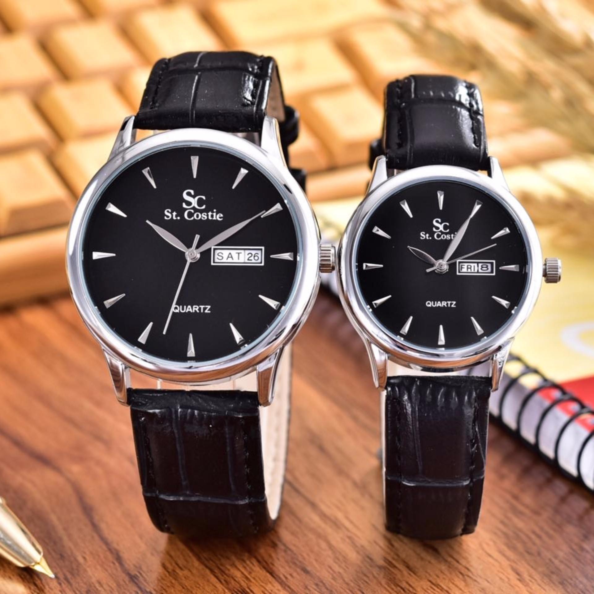 Saint Costie Original Brand - Jam Tangan Pria dan Wanita - Body Silver - Black Dial – Black Leather Strap  SC-JK-8009GL-T/H-SB-Couple-Black Leather