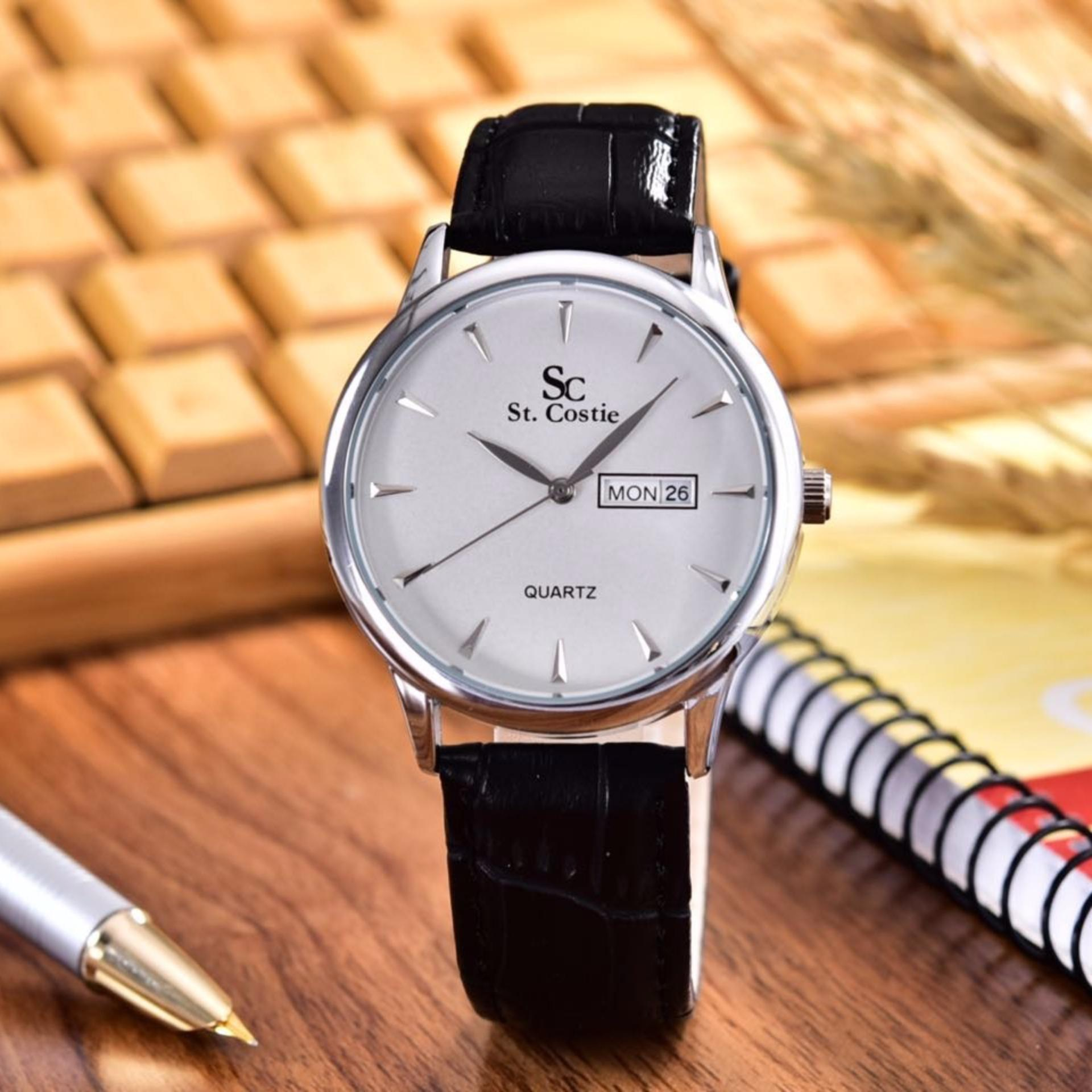 Saint Costie  Original Brand, Jam Tangan Wanita - Body Silver - White Dial – Black Leather Strap - SC-JK-8009L-T/H-SW-Black Leather