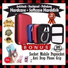 Sale !! Hardcase Softcase Pelindung Harddisk Powerbank GPS Modem Antishock Tahan Banting Pouch Bag - Shockproof Tas Harddisk External - Gratis Socket Mobile Popsocket Anti Drop Phone Grip