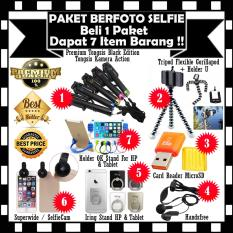 Sale !! Paket Accesories Berfoto Selfie - Premium Tongsis Black Edition Tongsis Kamera Action + Handsfree + Tripod Flexible Gorillapod Holder U + Card Reader MicroSD + Superwide Fisheye + Holder OK Stand & Iring Stand Hp