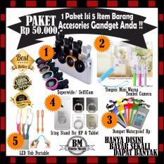 Sale !! Promo Superwide / Fisheye + Tongsis Mini Warna + Tas Waterproof + Iring Stand HP & Led Usb Portable - Paket Harga Murah 50Rb