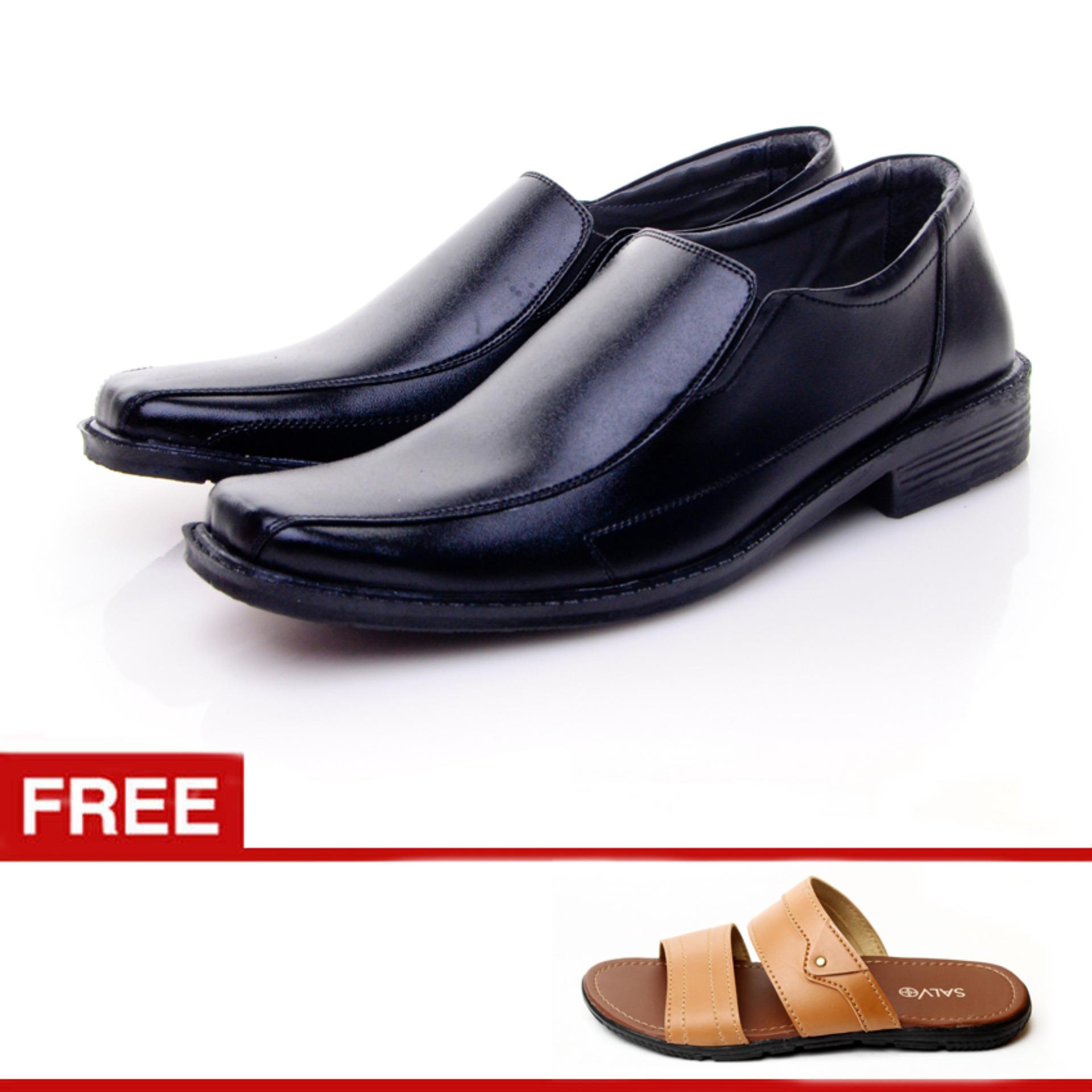 Salvo Sepatu Formal pria / sepatu formal kulit / sepatu kerja pria / sepatu pria /sepatu pria murah 959 (hitam dan coklat) Free Sandal L01 tan