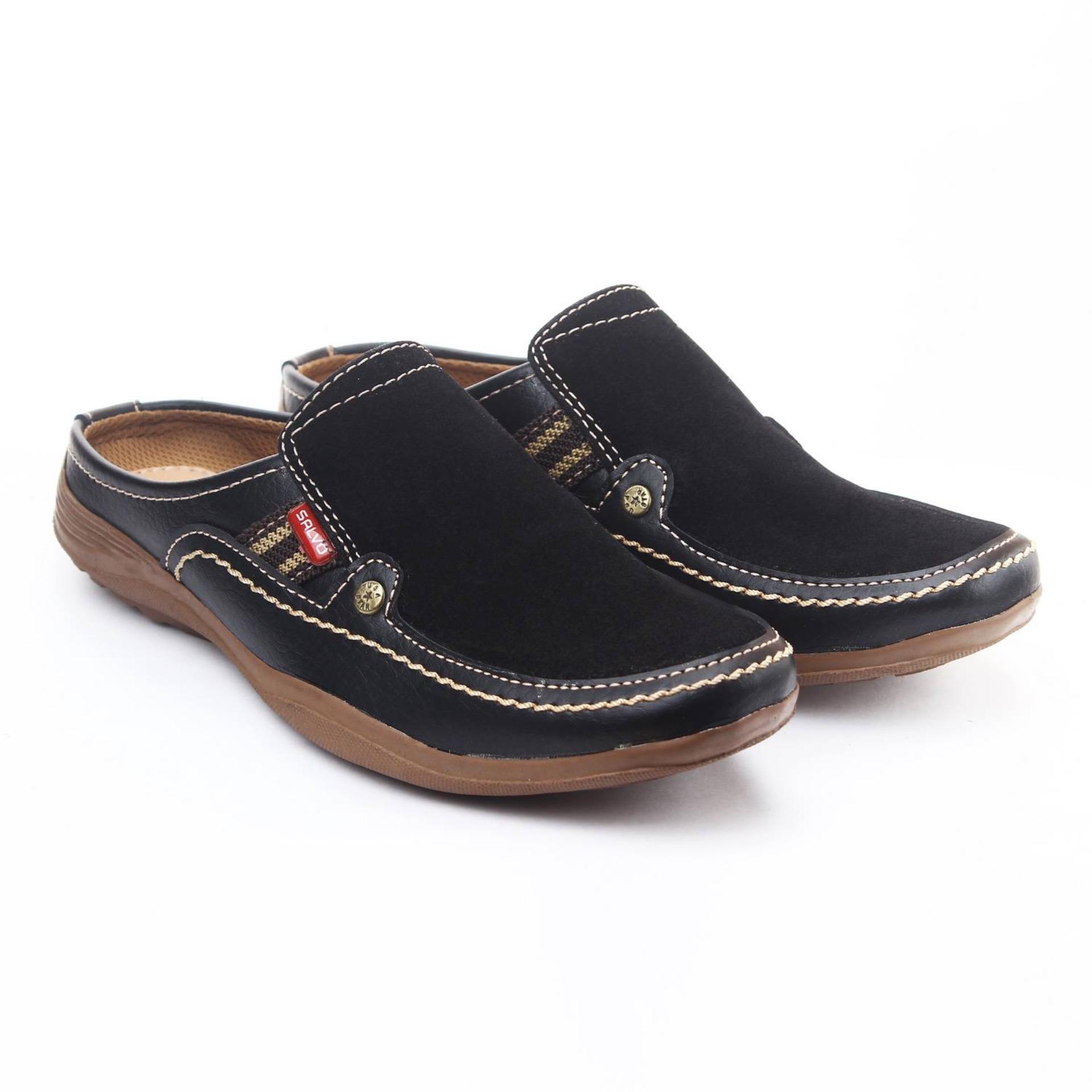 Salvo / fashion pria / sepatu / sepatu pria / flat shoes / flatshoes / sepatu casual / sepatu casual pria / sepatu cowo / sepatu cowok / sepatu flat / sepatu murah / sepatu pria casual / sepatu pria murah / sepatu sandal pria SL02-hitam