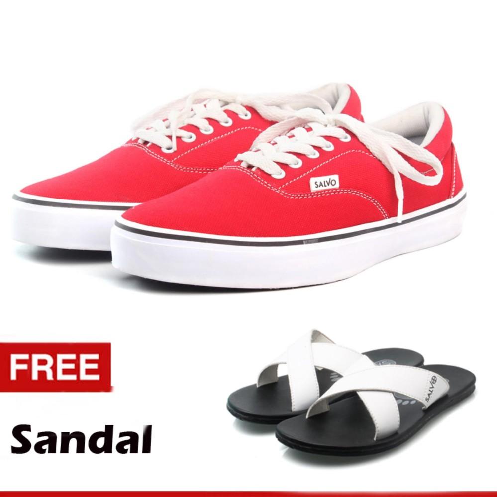Promo Salvo Sepatu Sneaker Pria Sepatu Pria Sepatu Sneaker Murah A03 Merah A03 Biru Free Sandal S02 Putih Akhir Tahun