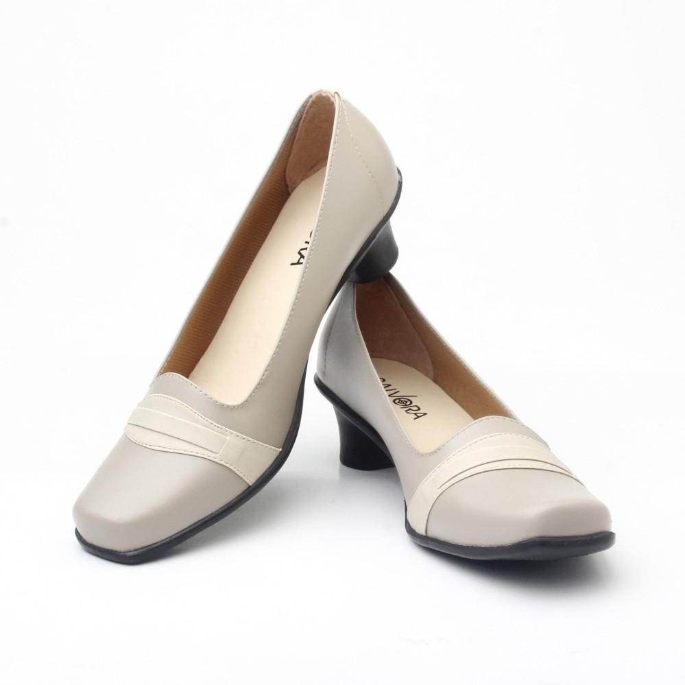 Salvora sepatu formal wanita / sepatu wanita / sepatu wanita murah / sepatu kerja wanita / sepatu kerja wanita pantofel / sepatu wanita 5cm 02-Krem