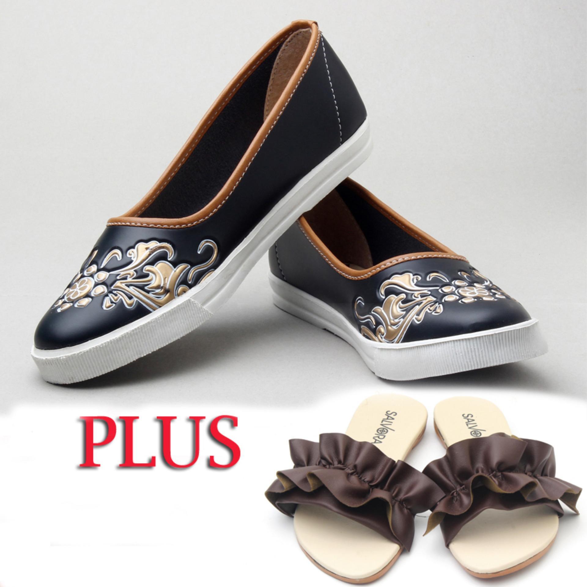 Salvora sepatu wanita / sepatu wanita murah / sepatu wanita flat / sepatu cewek / sepatu casual wanita / sepatu kasual wanita / sepatu wanita model terbaru / sepatu wanita termurah / sepatu wanita terkini MS hitam free Sandal wanita P02 moka