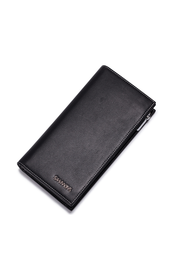 Cuci Gudang Sammons Men S Real Genuine Cow Leather Purse Wallet Money Checkbook Zip Clutch Bag Long Black
