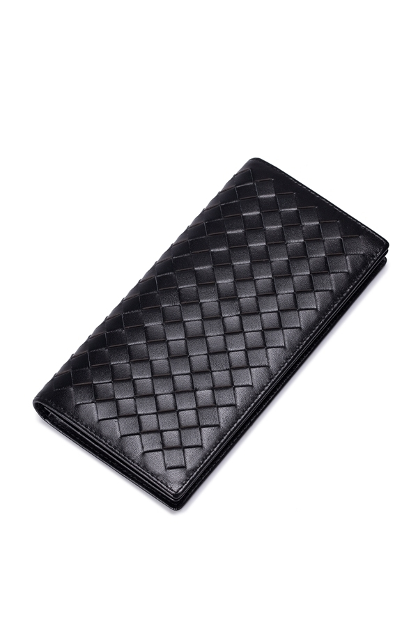 Jual Sammons Pria Real Kulit Asli Dompet Uang Buku Cek Clutch Bag Dompet Handmade Woven Hitam Satu Set