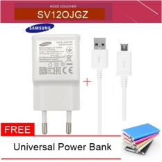 Samsung Fast Charger Tavel Charger 15W for Samsung S6 / S7 / Note 4/5 Original - Putih + Free Power Bank dan Kabel USB Charger