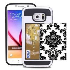 Samsung GALAXY S6 Kasus Kartu Kredit ID Holder Dompet Case Cover Shock-Resistant Hybrid Armor-Memegang 2 Kartu & Kas dengan Corpcase. Designer ID/Slider KARTU Pola Vintage Hitam Floral Damask