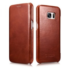 Samsung Galaxy S7 Edge Leather Case, Icarercase Business Series Vintage Genuine Leather Curve Edge Flip In Wallet Cover, Folio Flip Style Cases(Brown) - intl