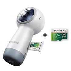 Samsung Gear 360 (Edisi 2017) Real 360 ° 4 K VR Camera (Versi AS dengan Garansi) + Samsung 128 GB 100 MB/s (U3) MicroSD EVO Pilih Kartu Memori dengan Adaptor (MB-ME128GA/AM)-Intl