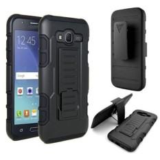 Samsung J7 Prime Armor Hybrid Impact Case Belt Clip Holster Stand Hard Cover - BLACK