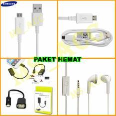 Samsung Kabel Data Micro Usb + Handsfree Samsung + Kabel OTG Micro Usb [ Paket Hemat ]
