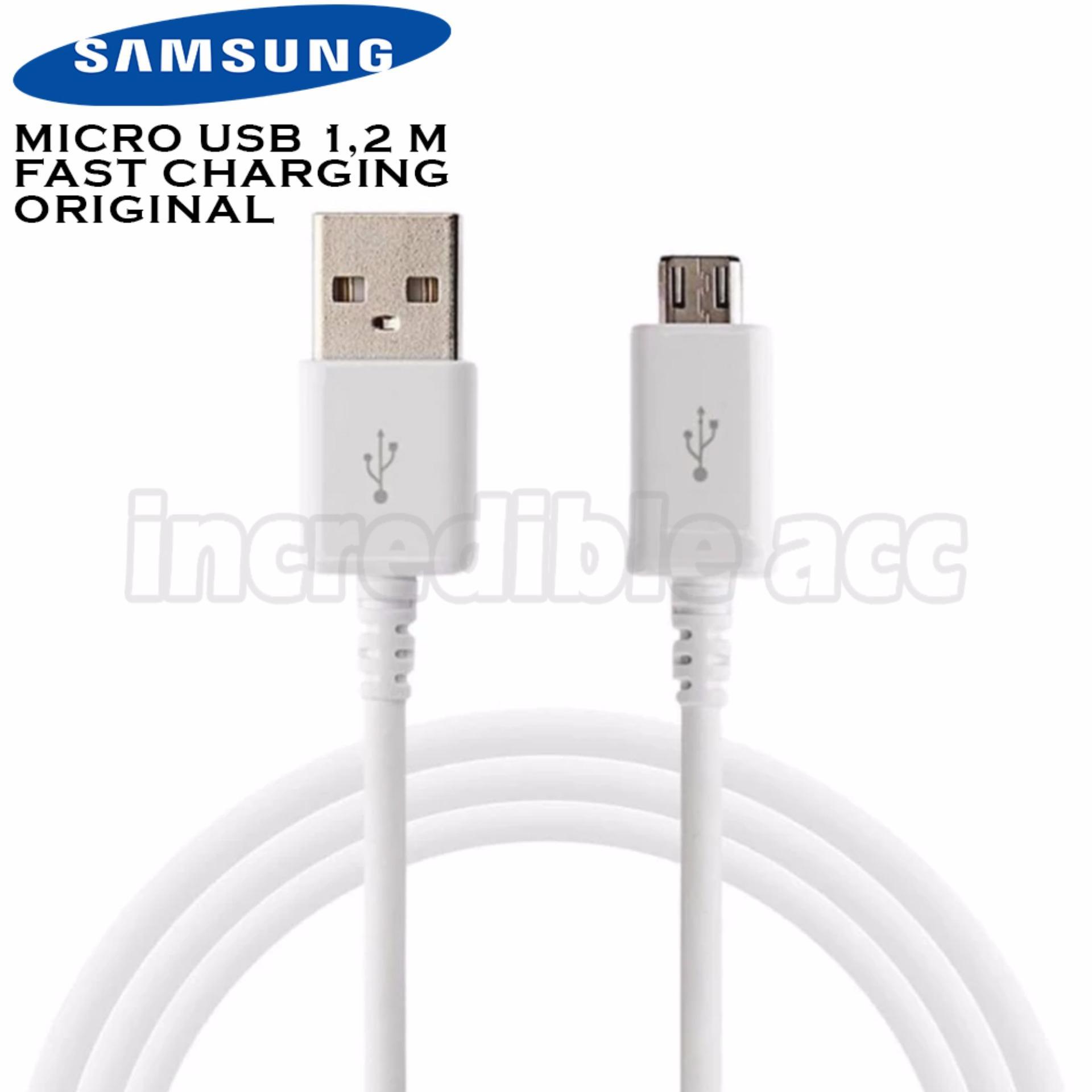 Samsung Kabel Data Panjang 1.2m ORIGINAL Kabel Charger Micro USB Fast Charging For Samsung All Type - Putih