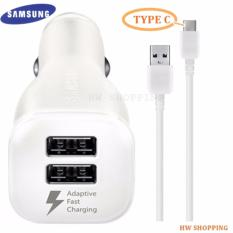 Samsung Official Brand New Charger Mobil Type C Fast Charger 2 Output Car Charger Dual Port USB Type C Original For Samsung S8 / S8 PLUS / Seri A / A7 dan Type Lain nya yang mendukung Fast Charge - Putih