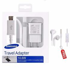 Pusat Jual Beli Samsung Original Travel Adapter Charger 10 6W Kabel Micro Usb Free Handsfree Samsung Gh59 Jack 3 5Mm Putih Indonesia