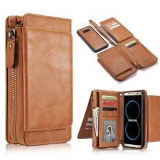 Samsung S8 Plus Case, Jiaing Dompet Kulit Asli Folio Flip Cover dan Detachable Magnetic Back Cover Dompet dengan Pemegang Kartu Kredit untuk Galaxy S8 Plus, Brown (6.2 '')-Intl