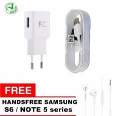 Samsung Travel Charger S6 / Note5 / Note4 - Putih + Gratis Handsfree S6 / Note5 Series - Putih