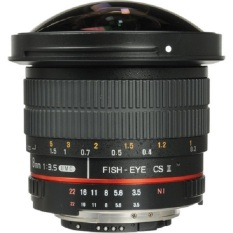 Samyang 8mm f/3.5 UMC CS II Fisheye Lensa with Removable Hood Ring Merah for Nikon - Hitam