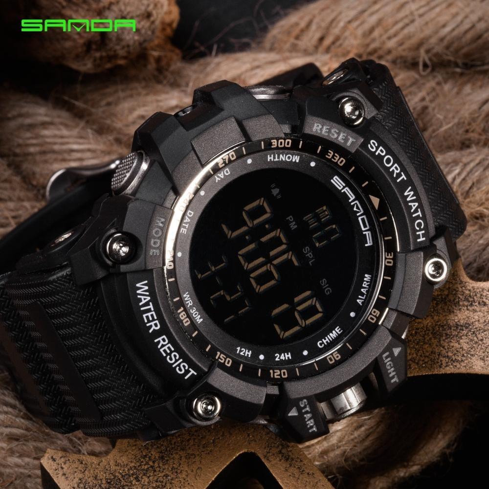 SANDA Baru Watch Pria Panjat Tebing Sports Wrist Watches Big Dial Militer Jam Tangan G Alarm Shockproof Tahan Air Watch Saat 359 -Intl